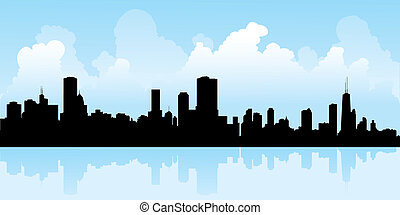 Chicago Silhouette - Skyline silhouette of the city of...