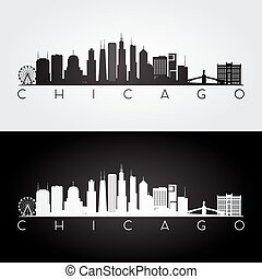 chicago, silhouette, horizon