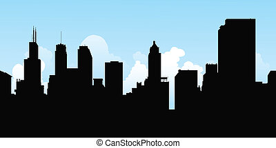 Chicago Silhouette - Skyline silhouette of the city of ...