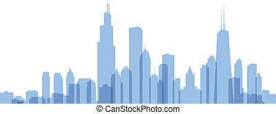 Chicago Silhouette - Transparent styled skyline silhouette ...