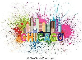 Chicago Sklyine Paint Splatter Abtract Illustration -...