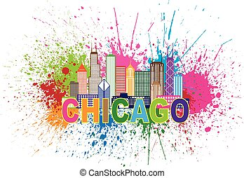 Chicago City Skyline Panorama Outline Silhouette Paint Splatter Abstract Colorful Text Isolated on White Background Illustration