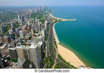 Chicago skyline aerial view. No brand names or copyright...