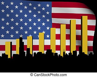 Chicago skyline and graph over flag