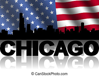 Chicago skyline and text reflected with rippled American...