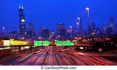 Chicago skyline and traffic