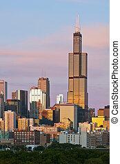 Chicago skyline at twilight.
