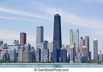 Chicago skyline - Chicago city skyline by the lake