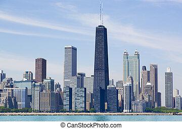 Chicago skyline - Chicago city skyline by the lake