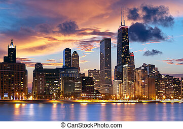 Chicago downtown skyline at dusk.