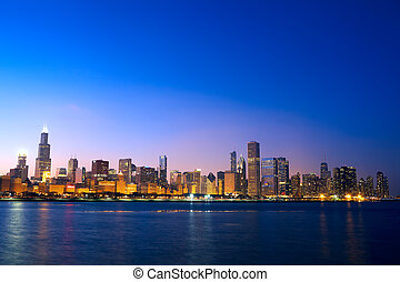 Chicago skyline - Downtown Chicago across Lake Michigan at...