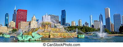 chicago, skyline, en, buckingham fontein