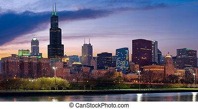 Chicago skyline. - Image of Chicago skyline at twilight.
