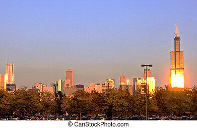 Chicago Skyline in Evening