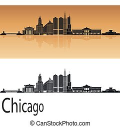 Chicago skyline in orange