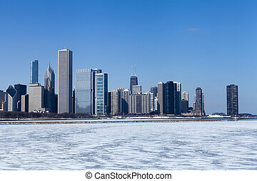 Chicago skyline in the winter