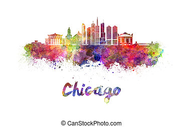 Chicago skyline in watercolor