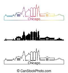 Chicago skyline linear style with rainbow in editable vector file