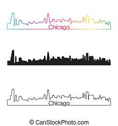 Chicago skyline linear style with rainbow in editable vector...