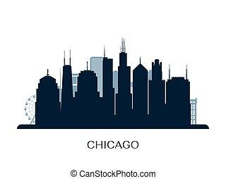 Chicago skyline, monochrome silhouette.