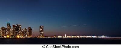 Chicago skyline navy pier at night