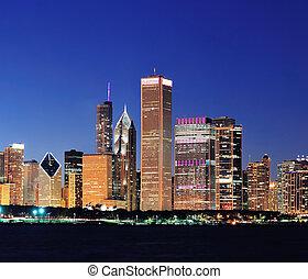 chicago, skyline, op, schemering
