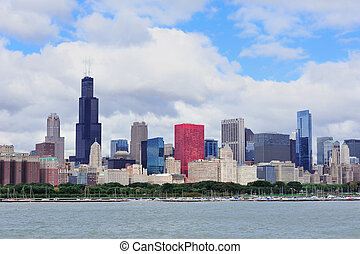 Chicago skyline over Lake Michigan - Chicago skyline ...