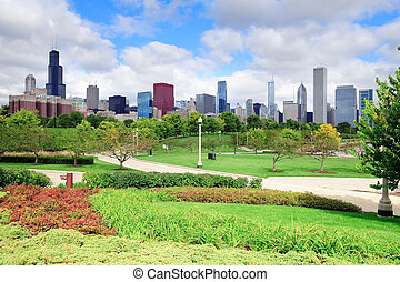 Chicago skyline over park