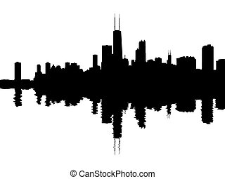 Chicago skyline reflected with ripples illustration
