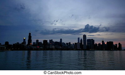 Chicago Skyline Reflected on he Lake at Sunset Time Lapse