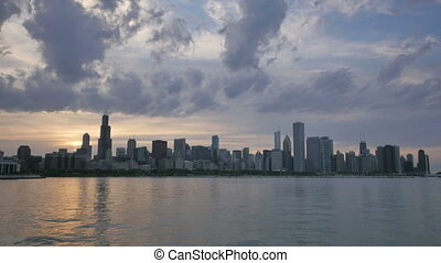 Chicago Skyline Reflected on Lake - Video time lapse of...
