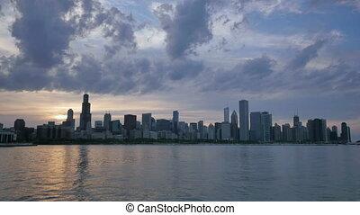 Chicago Skyline Reflected on Lake