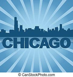 Chicago skyline reflected with blue sunburst illustration