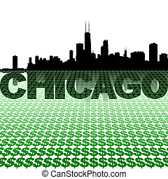 Chicago skyline reflected with dollar symbols illustration
