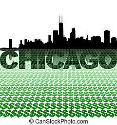 Chicago skyline reflected with dollar symbols illustration