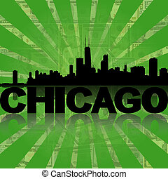Chicago skyline reflected with green dollars sunburst illustration
