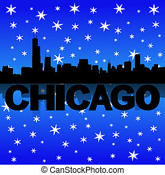 Chicago skyline reflected with snow illustration