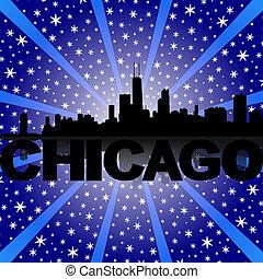Chicago skyline reflected with snow burst illustration