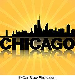 Chicago skyline reflected with sunburst illustration