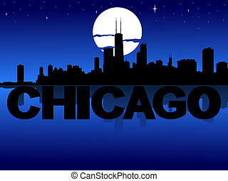 Chicago skyline reflected with text and moon illustration