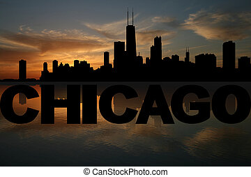 Chicago skyline reflected with text and sunset illustration