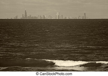 Chicago skyline seen from Indiana
