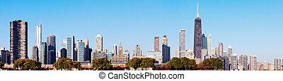 Chicago skyline seen from Lake Michigan