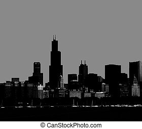 Chicago skyline silhouette . - Abstract night Chicago...
