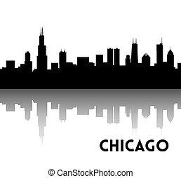 Chicago skyline silhouette - Vector black silhouette of...