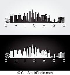Chicago skyline silhouette - Chicago USA skyline and...
