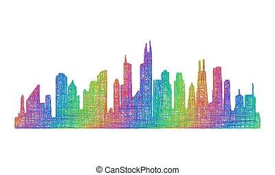 Chicago skyline silhouette - multicolor line art