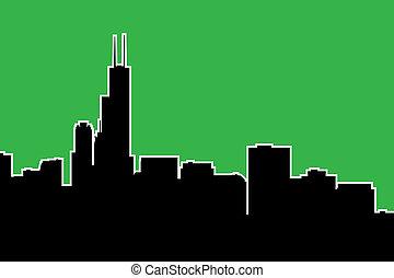 Chicago Skyline Silhouette - Skyline silhouette of the city...