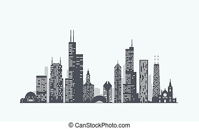 Chicago skyline silhouette - Vector graphics, flat city...