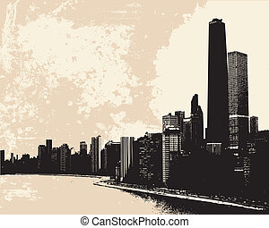 Chicago skyline - View of Chicago skyline from Lake Michigan